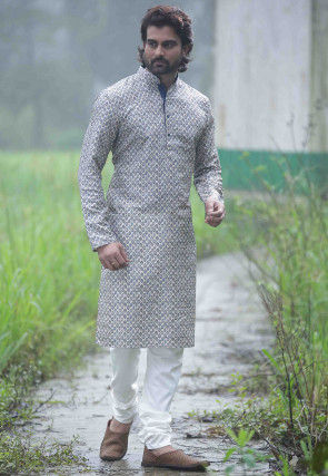 Digital Printed Cotton Kurta Set in Light Grey