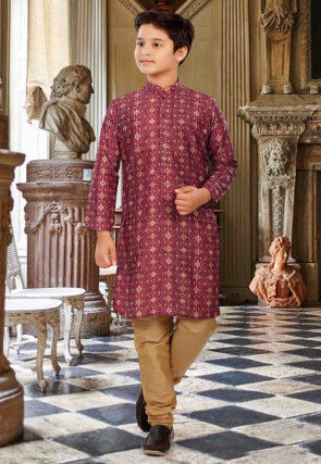 Digital Printed Cotton Kurta Set in Maroon