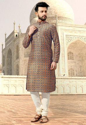 Digital Printed Cotton Kurta Set in Multicolor