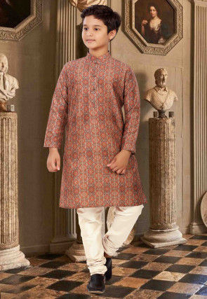 Digital Printed Cotton Kurta Set in Rust