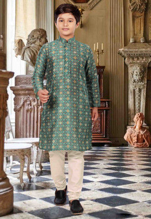 Digital Printed Cotton Kurta Set in Teal Green