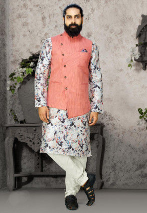 Digital Printed Cotton Linen Kurta Jacket Set in Off White and Peach