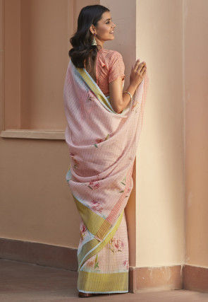 Digital Printed Cotton Linen Saree in Baby Pink
