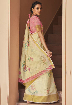 Digital Printed Cotton Linen Saree in Cream