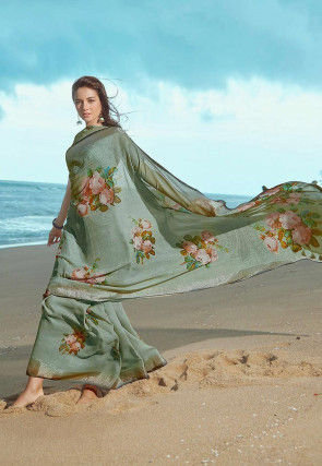 Digital Printed Cotton Linen Saree in Dusty Green
