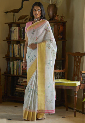 Digital Printed Cotton Linen Saree in Light Grey