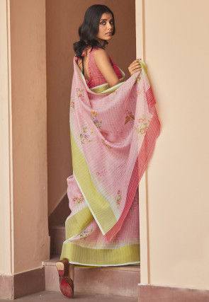 Digital Printed Cotton Linen Saree in Light Pink