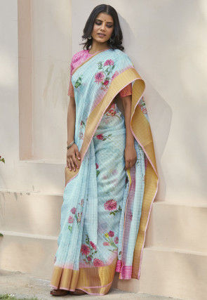 Digital Printed Cotton Linen Saree in Pastel Blue