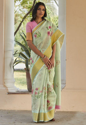 Digital Printed Cotton Linen Saree in Pastel Green