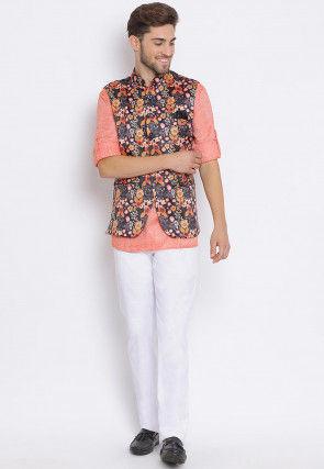 Digital Printed Cotton Linen Short Kurta Set in Coral Red