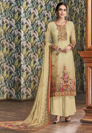 Digital Printed Cotton Pakistani Suit in Beige