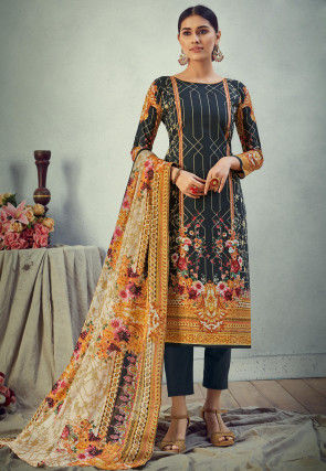 Digital Printed Cotton Pakistani Suit in Black