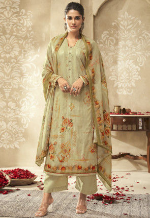 Digital Printed Cotton Pakistani Suit in Dusty Green