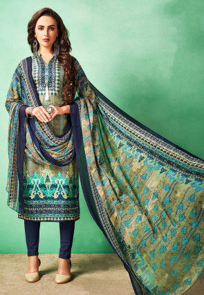 Digital Printed Cotton Pakistani Suit in Olive Green