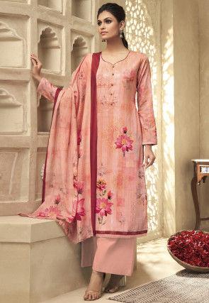 Digital Printed Cotton Pakistani Suit in Peach