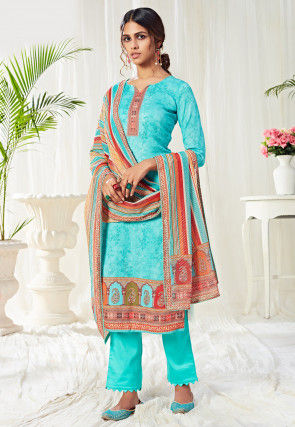 Digital Printed Cotton Pakistani Suit in Tarquoise