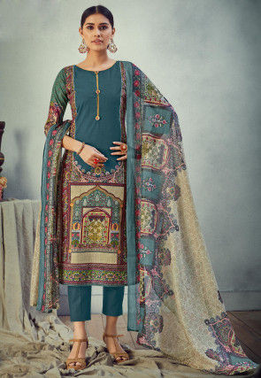 Digital Printed Cotton Pakistani Suit in Teal Blue