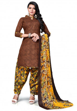 Digital Printed Cotton Punjabi Suit in Brown