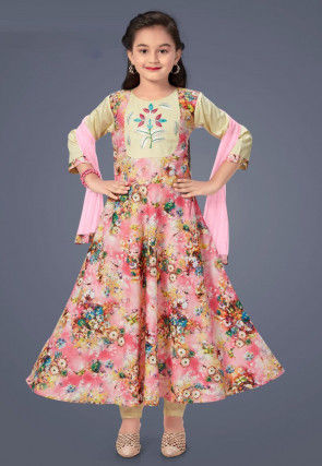 Digital Printed Cotton Rayon A Line Suit in Pink
