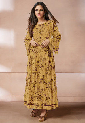 Digital Printed Cotton Rayon Dress in Mustard