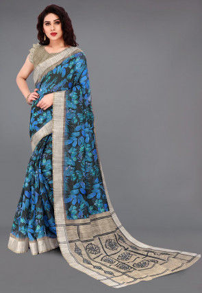 Digital Printed Cotton Saree in Black and Blue