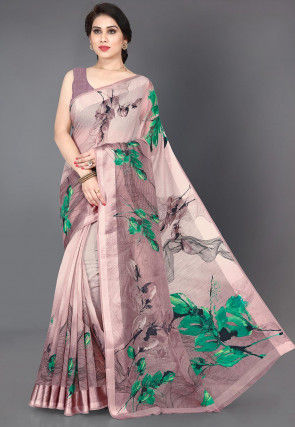 Digital Printed Cotton Saree in Dusty Pink