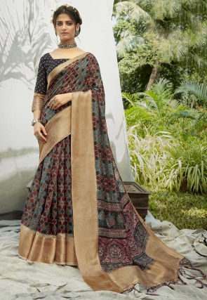 Digital Printed Cotton Saree in Multicolor