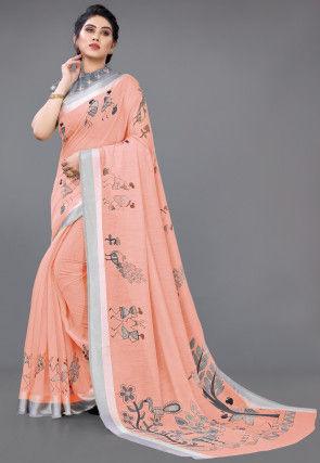 Digital Printed Cotton Saree in Peach