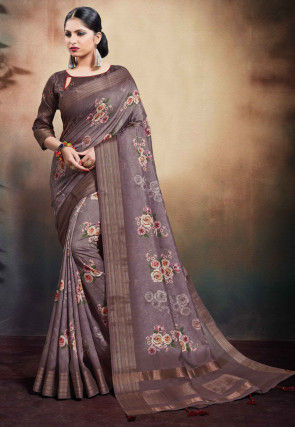 Digital Printed Cotton Saree in Purple