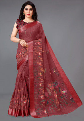 Digital Printed Cotton Saree in Red