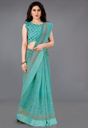 Printed Cotton Saree in Teal Green