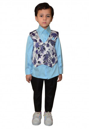 Digital Printed Cotton Satin Shirt Set in Sky Blue