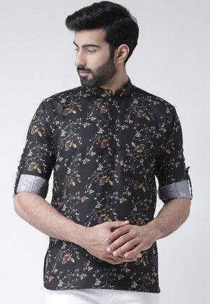 Digital Printed Cotton Short Kurta in Black