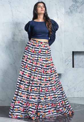 Digital Printed Cotton Silk Crop Top Set in Navy Blue