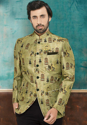 Digital Printed Cotton Silk Jodhpuri Jacket in Pastel Green