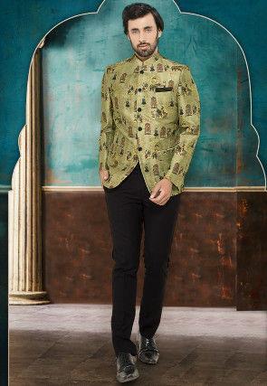 Digital Printed Cotton Silk Jodhpuri Suit in Pastel Green