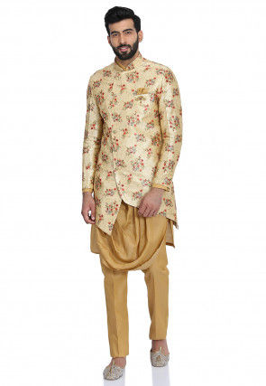 Digital Printed Cotton Silk Kurta Jacket Set in Beige