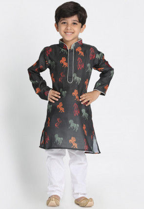 Digital Printed Cotton Silk Kurta Set in Black
