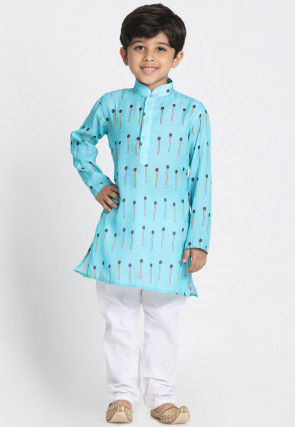 Digital Printed Cotton Silk Kurta Set in Light Blue