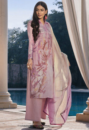 Digital Printed Cotton Silk Pakistani Suit in Lilac