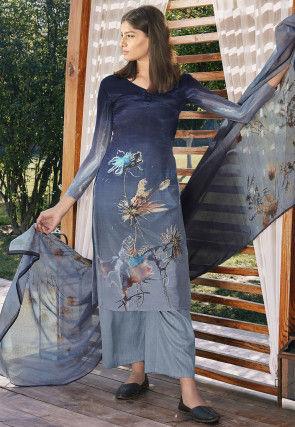 Digital Printed Cotton Silk Pakistani Suit in Navy Blue