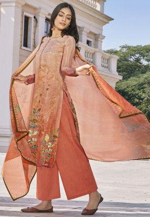 Digital Printed Cotton Silk Pakistani Suit in Peach