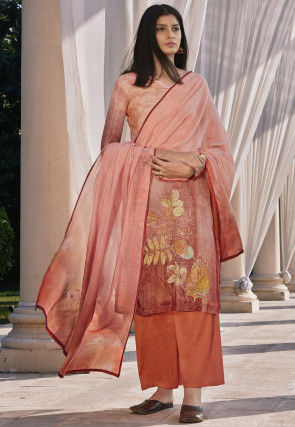 Digital Printed Cotton Silk Pakistani Suit in Peach
