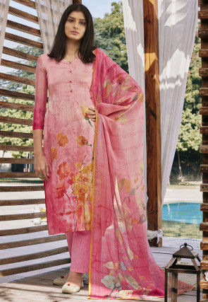 Digital Printed Cotton Silk Pakistani Suit in Pink