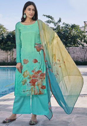 Digital Printed Cotton Silk Pakistani Suit in Turquoise