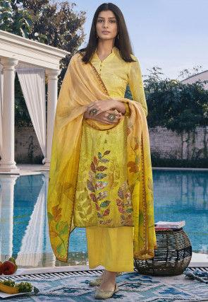 Digital Printed Cotton Silk Pakistani Suit in Yellow