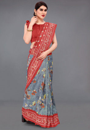 Digital Printed Cotton Silk Saree in Grey and Red