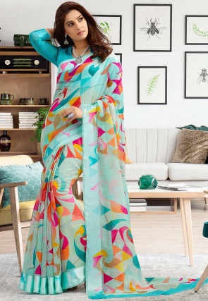 Digital Printed Cotton Silk Saree in Sky Blue