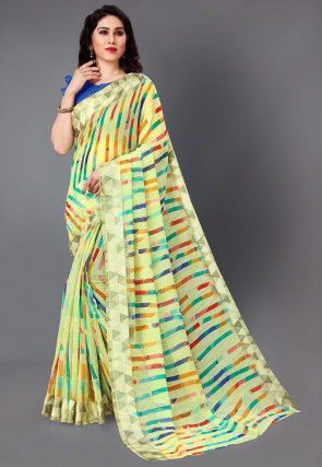 Digital Printed Cotton Silk Saree in Yellow and Multicolor