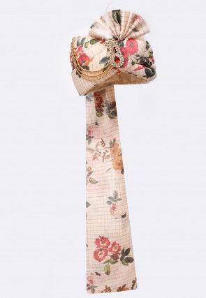 Digital Printed Cotton Silk Turban in Light Beige